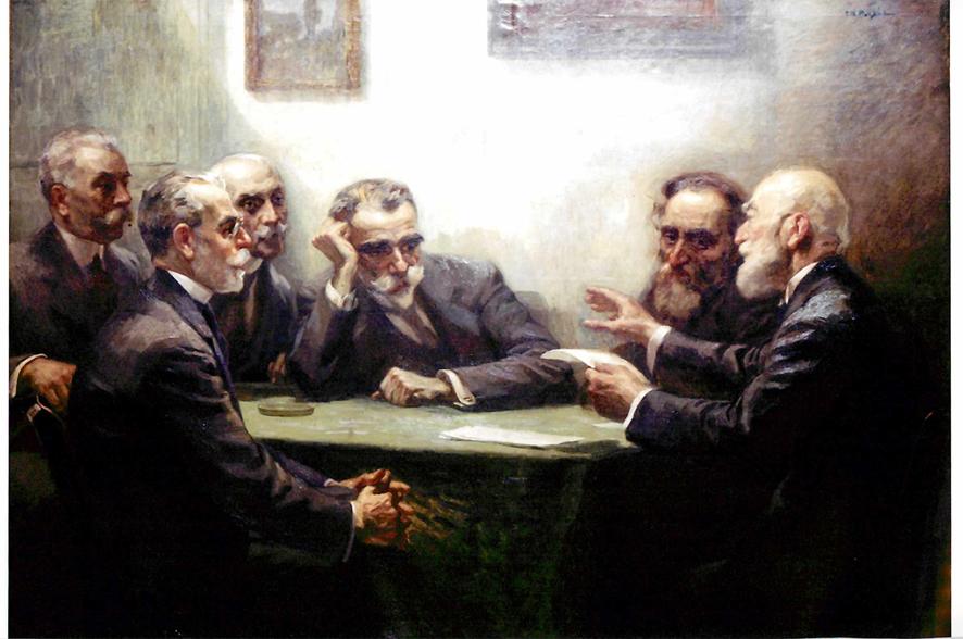Διανοούμενοι συνεργάτες εφημερίδων. Από αριστερά Γ. Δροσίνης, Γ. Στρατήγης, Ιωάν. Πολέμης, Κ. Παλαμάς, Γ. Σουρής και Α. Προβελέγγιος. Έργο του  Γ. Ν. Ροϊλού με τίτλο «Οι ποιηταί». (Συλλογή του Φιλολογικού Συλλόγου Παρνασσός).